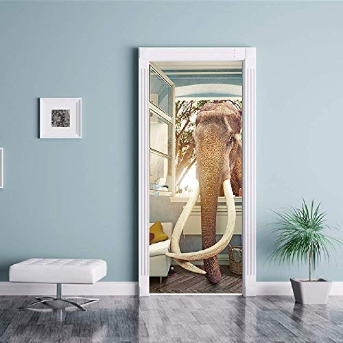 PYUK 3D DIY olifanten kapot raam deur sticker behang waterdicht afneembare muursticker woonkamer slaapkamer huis kleuterschool sticker 77 x 200 cm.