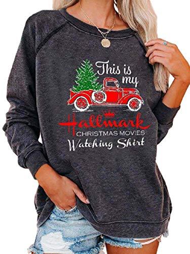 Poboola Women's Christmas Movies Watching Shirt Sweatshirt Xmas Long Sleeve Tops XL