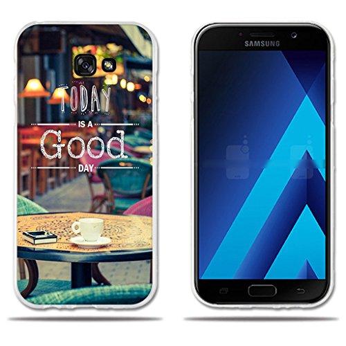 Funda Carcasa para Samsung Galaxy A7 2017, Carcasa de Silicona Transparente TPU, FUBAODA, Dibujo con Lema Buen Día, Carcasa Protectora de Goma de Altisima Calidad para Samsung Galaxy A7 2017 (5.7')