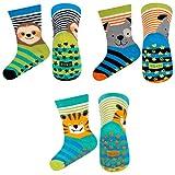 soxo bunte Baby Anti-rutsch Socken | lustige Babysocken aus Baumwolle mit witzigen Motiven | rutschfeste, mehrfarbig gemusterte Socken für Jungen & Mädchen | Größe 19-21