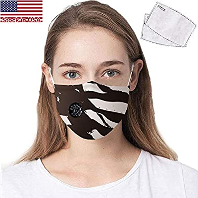 COOLINKO American Flag Black and White Face Covering with 2 Activated Carbon PM2.5 Filter Valve and Adjustable Elastic Band - Washable Reusable Fashion Cotton Mouth Head Accessory Mask by COOLINKO