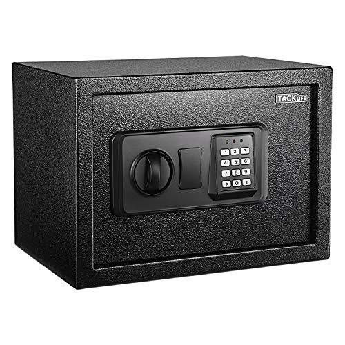 Coffre-Fort, Coffre-Fort à Poser avec Serrure électronique numérique de Alarme, 2 Clés pour Ouverture d'urgence, A Poser et Sceller, 35cm×25cm×25cm, 14L, Noir