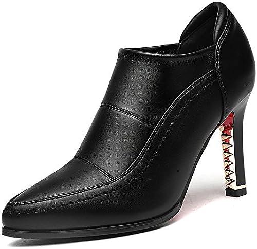 AJUNR Femmes Loisirs Printemps et été Mode Sandales Profondes Tête Pointue 9cm Talon Haut Talon Chaussures Chaussures Chaussures en Cuir Simple Chaussures Tous Les Types de