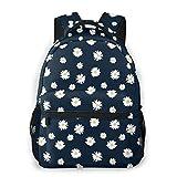 Mochila para hombres y mujeres ligera mochila escolar casual mochila lindo floral encantadora flor prado ideal para viajes, deportes, senderismo con dos bolsillos para botellas