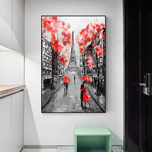 wZUN Pareja romántica Torre Eiffel Lienzo Pintura Arte Carteles e Impresiones Abstracto París Paisaje Sala de Estar Cuadro de Pared 60X90 Sin Marco