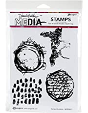 """Dina Wakley Media Cling Stamps 6""""X9"""" - Text & Scribbles (Pack of 1)"""