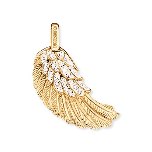 Engelsrufer Flügel Anhänger für Damen 925er-Sterlingsilber vergoldet mit weißen Kristallen 29 mm