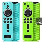 2 Pack Custodia per Telecomando Fire TV Stick 4K/4K Ultra HD con il Nuovo 2a Gen Alexa Voice Telecomando, Leggera Antiscivolo Antiurto Custodia in Silicone per Remote Controller (Turchese & Verde)