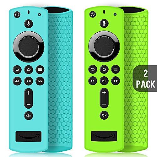 2 Pack Schutzhülle für Fire TV Stick 4K / 4K Ultra HD Kompatibel mit Neuen Alexa-Sprachfernbedienung (2.Gen), Leichte rutschfeste Stoßfeste Fernbedienung Silikonhülle Cover Hülle (Türkis & Grün)