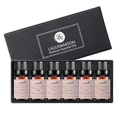 Aromatherapy Essential Oils Gift Set, Top 6 100% Pure Premium Therapeutic Grade Oils -Lavender, Tea Tree, Eucalyptus, Lemongrass, Orange, Peppermint Essential Oils