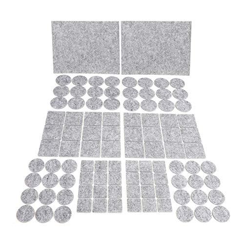 JYPS Almohadillas de Fieltro Adhesivo Alta Densidad para Muebles, Protectores para Patas de Sillas, Mesas, Suelo, Protectores de Fieltro 98pcs - Gris