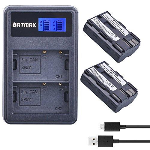 Batmax 2Packs BP-511A BP-511 BP 511 511A Battery + LCD Dual USB Charger for Canon EOS 5D, 10D, 20D, 30D, 40D, 50D, Digital Rebel 1D, D60, 300D, D30, Kiss Powershot G5, Pro