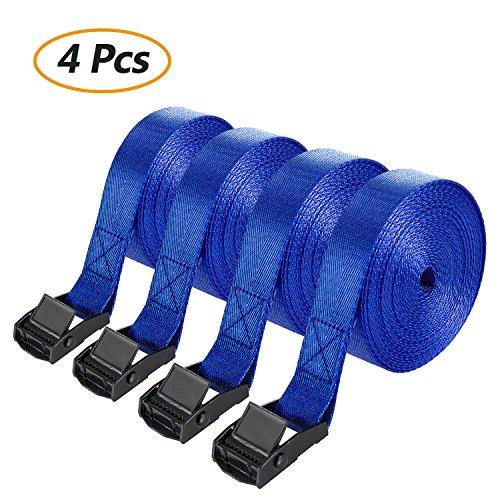 Comius Cinghie Fissaggio, 4 PCS Cinghie Di Fissaggio Con Chiusura A Morsetto, Cinghia di fissaggio cinghie di tensione con cricchetto 2.5 cm x 5 m (Bl