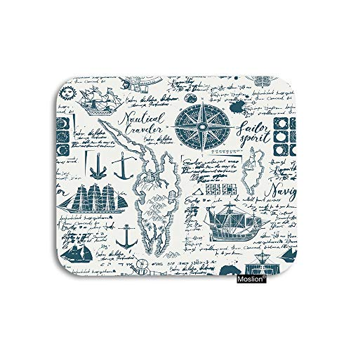 Moslion Nautical Mouse Pad Vintage Manuscript with World Map Boats Caravels Wind Rose Anchors Gaming Mouse Pad Rubber Large Mousepad for Computer Desk Laptop Office Work 7.9x9.5 Inch