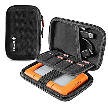 tomtoc Carrying Case for 2.5-inch External Hard Drive EVA Shockproof Portable Bag for Western Digital | Toshiba | Seagate | LaCie | HGST Hard Drive Travel Pouch with 8 Slots for USB Stick / SD Cards