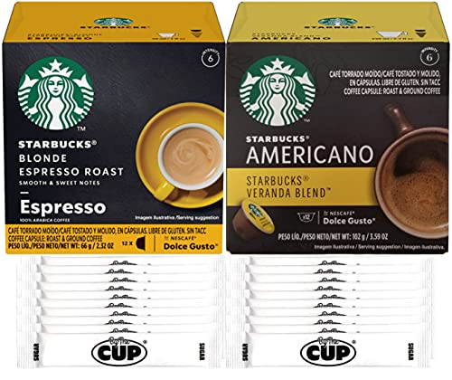Starbucks Coffee by Nescafe Dolce Gusto Variety, Blonde Espresso Roast & Veranda Blend (Pack of 24) with By The Cup Sugar Packets