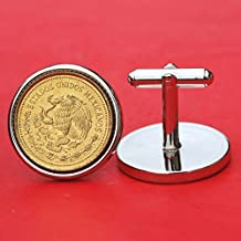 A Pair of 1985 Mexico 20 Pesos National Arms Eagle & Snake Coin Gold Silver Two Toned Cufflinks NEW