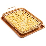 crisper trays - Chef's Star Copper Crisper Tray - Ceramic Coated Cookie Tray & Mesh Nonstick Basket - Healthy Oil Free Air Frying Option For Chicken, French Fries, Onion Rings & More