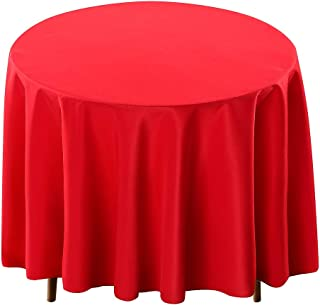 Surmente Tablecloth 120 Inch Round Polyester Table Cloth for Weddings, Banquets, or Restaurants (Red) …