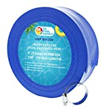 U.S. Pool Supply 2' x 100' Heavy Duty Blue PVC Swimming Pool Backwash Hose with Hose Clamp