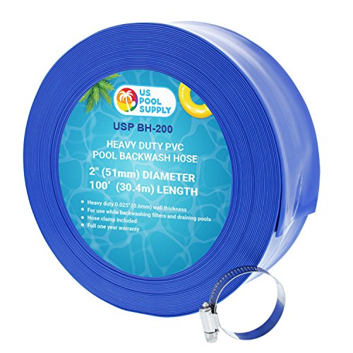 Heavy Duty PVC Pool Backwash and Drainage Hose with Clamp - 2 in. x 100 ft.