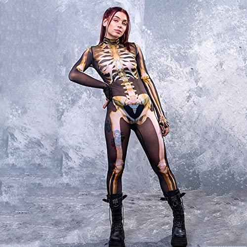 ArcherWlh Holloween,Leggings Mujer Push Up,Mujeres Europeas y Americanas 2021 Nuevo Estampado Flaco Disfraz de Halloween Esqueleto Mono de Calavera Mujer-Caqui_L