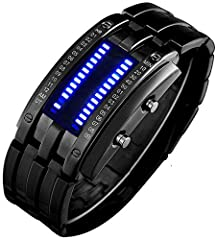 Smart digital display technology: Built-in bright LED for dark or low-light environments Well-made wristwatch: Precise Quarts movement and keep good time, high-quality electronic components and stainless steel Fashionable design: Creative binary time...