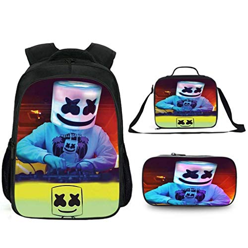 LLYDIANJunior Backpack for Kids 3D Marshmallow Lightweight Multi-Purpose Backpack Primary and Secondary School Students DJ Marshmello School Bag Student Backpack School Bag Messenger Bag (Color : B)