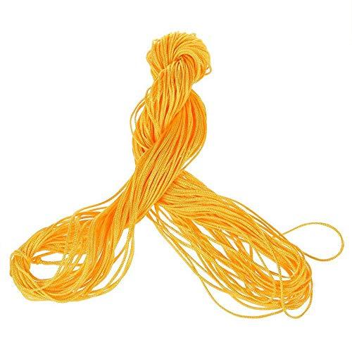 Ogquaton Hilo de Nailon Chino, Nudo Chino, 1 mm, Pulsera, Hilo, Cuerda, Perlas, macramé, Mimbre, 25 m, Pulsera Trenzada, Cuerda Amarilla Creativa y útil