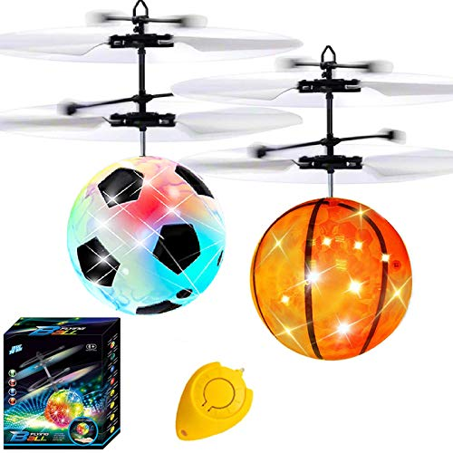 2 Pack Flying Ball Drones for Kids Flying Toys Remote Control Helicopter Infrared Induction RC Drone LED Light Up Ball Toy Soccer Gifts for Boy Girl Christmas Stocking Stuffers