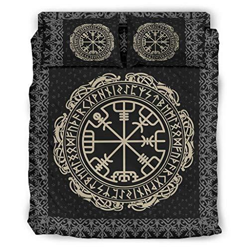 Knowikonwn Juego de 4 fundas de edredón y fundas de almohada Viking Vegvisir – Juego de sábanas suaves y cómodas, color blanco 2 228 x 264 cm