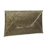LinZX Bolso de Cuero Bolsa de Ordenador portátil Bolsos de Las señoras de cóctel Elegante Bolsa Exquisita Noche de la Muchacha Originales,Gold