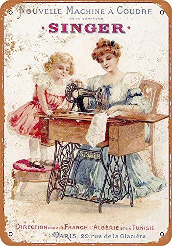 2013 1889 French Singer - Letrero de metal para máquinas de coser (30,5 x 20,3 cm), diseño retro vintage