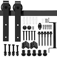 6.6 FT 200cm Black Barn Door Hardware Kit with Handle, Dulcii Steel Slide Sliding Track Rail Hanger ...