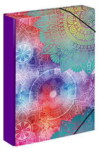 Baagl Heftbox für Schulranzen - Heftmappe A4 für Kinder mit Gummiband und Innenklappen - Sammelmappe, Sammelbox mit Gummizug für Jungen (Mandala)