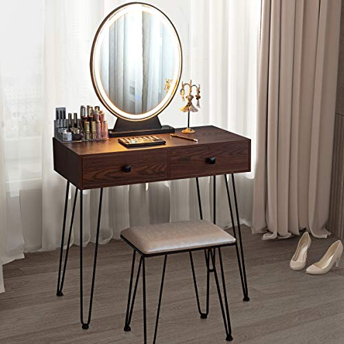 CHARMAID Vanity Set with Lighted Mirror, 3-Color Touch Screen Dimmable Mirror, Additional Storage Organizer, Sturdy Steel Legs, Bedroom Makeup Dressing Table with Cushioned Stool (Rustic Brown)