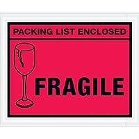Aviditi PL493 Tape Logic Packing List Enclosed - Fragile Envelopes 4 1/2 x 5 1/2 Red Case of 1000 [並行輸入品]
