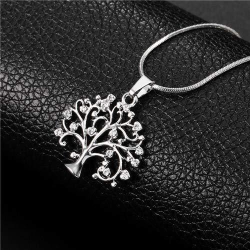 Dfgh Gouden Boom van het Leven Ketting for vrouwen zilver kort Choker Small Crystal Tree Hanger Collier mode-sieraden Gift van de Partij (Metal Color : Silver Color)
