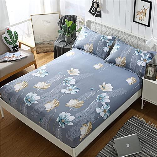 Nuoxuan Sábana Bajera Ajustable,Ropa de Cama de Tres Piezas de Moda de algodón Puro, Dormitorio de apartamento Solo Doble tamaño King-Gris 2_120x200cm (3pcs)