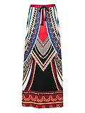LaoZan Femme Jupe Africaine Longue en Tissu Imprimé Floral pour Plage Eté Rouge