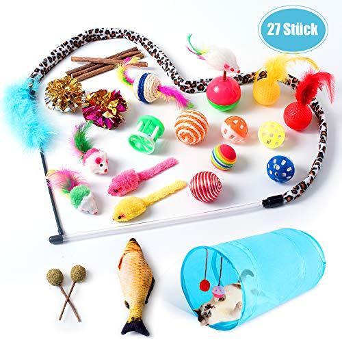 NINECY 27 Stück Katzenspielzeug Set, Katzenspielzeug Beschaftigung mit Katzentunnel,Fisch,Bälle,Spielzeugmäuse, Katzenminze,Federspielzeug, Katzen Spielzeug Katzenzubehör Spielsachen für Katze Kitty