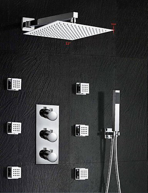 SOA @ 30,5cm Grünckter installieren Thermostatische Dusche Armaturen mit Handbrause chrom Wasserfall Regen Dusche Mixer Wasserhahn