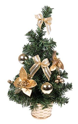 Clever Creations - Mini alberello di Natale Finto con Fiocchi Dorati - Decorazione Natalizia per Tavolo, Ufficio, casa - 41 cm