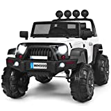 Costzon Ride on Truck, 12V Battery Powered Electric Vehicle w/ 2.4G Bluetooth Remote Control, 3 Speeds, LED Lights, Horn, MP3, Music, Double Magnetic Doors, Safety Belt, Ride on Car for Kids (White)