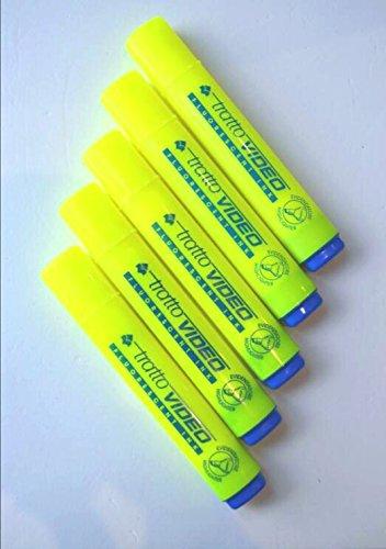 Tratto Video Evidenziatore Giallo Yellow fFluorescente Confezione Da 5 Pezzi