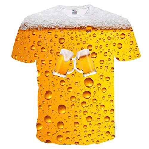 Neue 3D-Wasser-Tropfen-Digital Printing Short Sleeve-Paar-T-Shirt Männer Sommer-T-Shirt-zufällige Spitze Kansa (Color : TX-236, Size : 3XL)