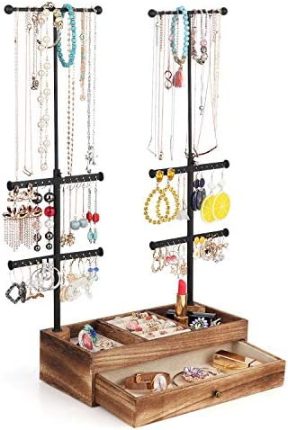 Miratino Jewelry Organizer Stand Double Rods 6 Tiers Jewelry Holder with Rustic Wood Drawer product image