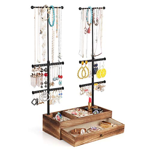 Miratino Jewelry Organizer Stand Double Rods & 6 Tiers Jewelry Holder with Rustic Wood Drawer Storage Base for Necklaces Bracelets Earrings Rings Display Carbonized Black