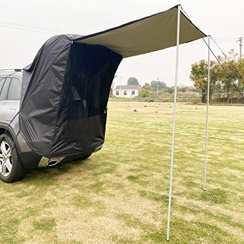 Tienda de campaña, portón trasero, marquesina, multifunción, tienda de campaña, ideal para salir y llevar de camping (negro)