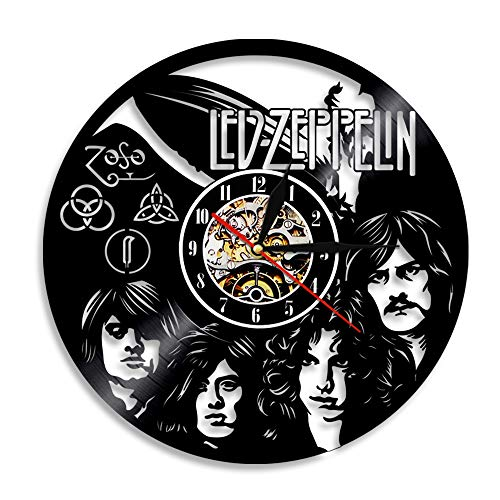 YUN Clock@ LED Zeppelin Wanduhr aus Vinyl Schallplattenuhr Upcycling 3D Design-Uhr Wand-Deko Vintage Familien Zimmer Dekoration Kunst Geschenk, Durchmesser 30 cm